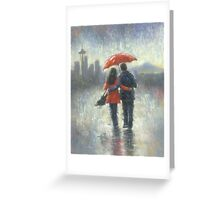 SEATTLE LOVERS IN THE RAIN Greeting Card
