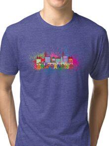 San Francisco Skyline Paint Splatter Illustration Tri-blend T-Shirt