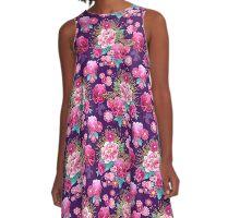 Kimono Design - Purple Peonies A-Line Dress