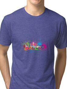 Dallas Skyline Paint Splatter Color Illustration Tri-blend T-Shirt