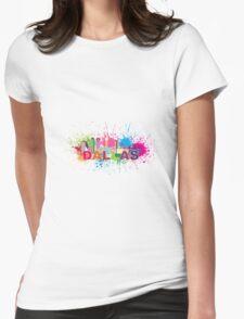 Dallas Skyline Paint Splatter Color Illustration Womens Fitted T-Shirt