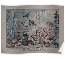 0176 ballooning The chamber of genius Rowlandson inv 1812 Poster
