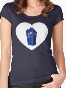 Tardis Heart Women's Fitted Scoop T-Shirt