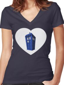 Tardis Heart Women's Fitted V-Neck T-Shirt
