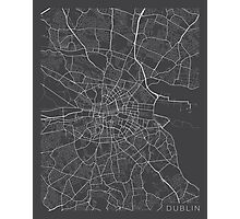 Dublin Map, Ireland - Gray Photographic Print