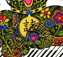 Piano Playing Lucky Black Cat  Sticker