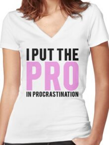 Procrastination Women's Fitted V-Neck T-Shirt