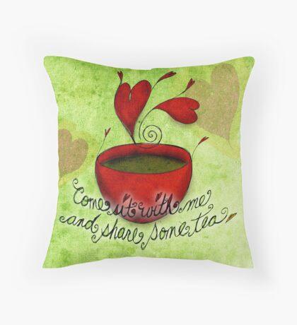 What my #Tea says to me - February 5, 2013 pillow Throw Pillow
