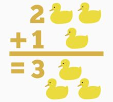duckling 2 plus 1 with numbers One Piece - Short Sleeve