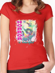 HORROR IS BEAUTIFUL - zombie face Women's Fitted Scoop T-Shirt