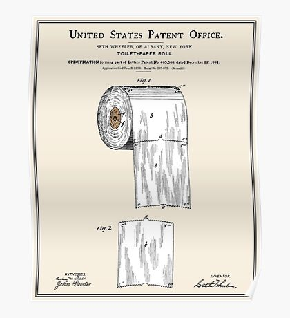 Toilet Paper Roll Patent - Colour Poster