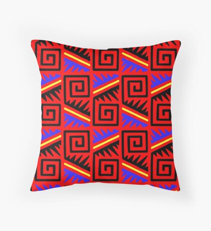 Fancy Red Mexican Pattern Throw Pillow
