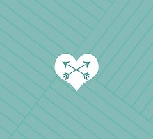Teal Arrows White Heart Geometric Design by DfinitiveDesign
