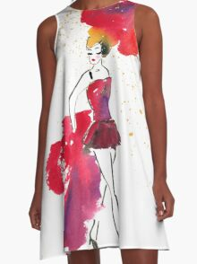 Watercolour Red Showgirl A-Line Dress