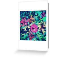 Fruity Rose - Fancy Colorful Abstraction Pattern Design (green pink blue) Greeting Card