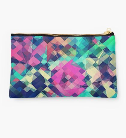 Fruity Rose - Fancy Colorful Abstraction Pattern Design (green pink blue) Studio Pouch