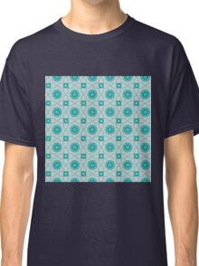 Blue and white abstract pattern background Classic T-Shirt