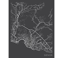 Genoa Map, Italy - Gray Photographic Print