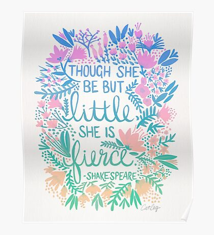 Little & Fierce – Lavender Mint Ombré Poster