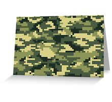 8 Bit Pixel Woodland Camouflage Greeting Card