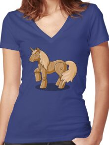 Unocchio the Wooden Unicorn Women's Fitted V-Neck T-Shirt