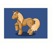 Unocchio the Wooden Unicorn Art Print