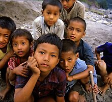Nepali boys, Annapurna region. by Kevin McGennan