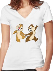 chip and dale Women's Fitted V-Neck T-Shirt