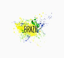 InscriptionBrazil on background watercolor stains. Hand-drawn texture. Brazilian flag made of colorful splashes Unisex T-Shirt