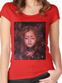 Hiding Within - original acrylic painting Women's Fitted Scoop T-Shirt