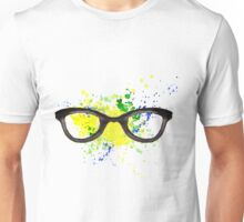 Hipster glasses on background watercolor stains. Hand-drawn texture. Brazilian flag made of colorful splashes Unisex T-Shirt