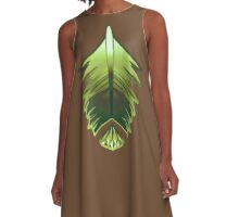 forest green feather and gem A-Line Dress