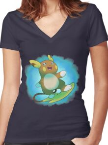 Alolan Raichu Women's Fitted V-Neck T-Shirt