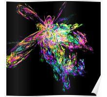 Rainbow coloured fractal design - titled Rainbow Explosion Poster
