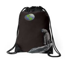 Lonely moon robot Drawstring Bag