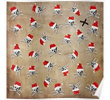Christmas Holiday Pirate Skulls on Vintage Texture Poster
