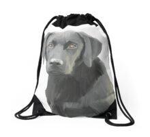 Black Labrador Retriever Dog Oil Painting Drawstring Bag