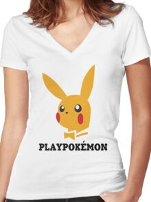 Playboy-Pokemon Women's Fitted V-Neck T-Shirt