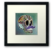 Mustache Sugar Skull (Color Version) Framed Print