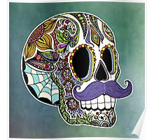 Mustache Sugar Skull (Color Version) Poster