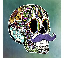Mustache Sugar Skull (Color Version) Photographic Print
