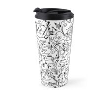 Abstract Composition #4 black lines Travel Mug