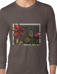 Gray Blossoms Long Sleeve T-Shirt