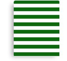 Green and White Hoops Banded Design Canvas Print