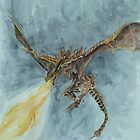 Elder Dragon Watercolor and Ink Painting by ArtLuver