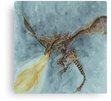 Elder Dragon Watercolor and Ink Painting Canvas Print