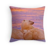 Polar family sunset Throw Pillow