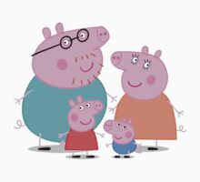 daddy pig and familly Kids Tee