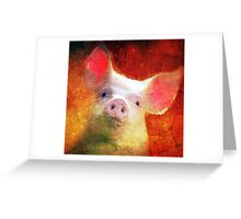 Sunset Piggy Wig Greeting Card