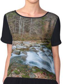 River flowing through mountain Chiffon Top